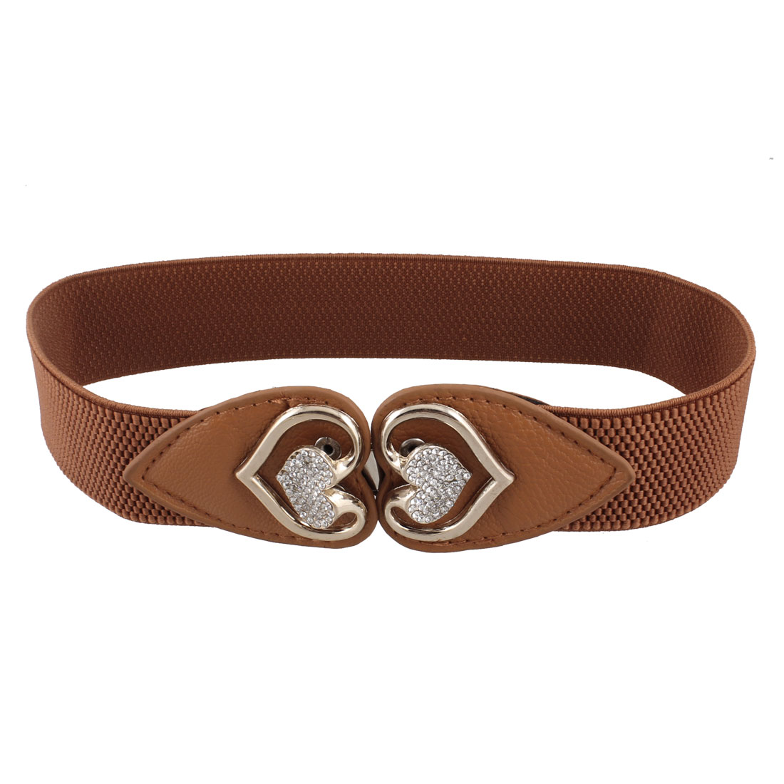 Lady Interlocking Buckle Rhinestone Heart Decor Stretchy Waist Belt Waistband Brown