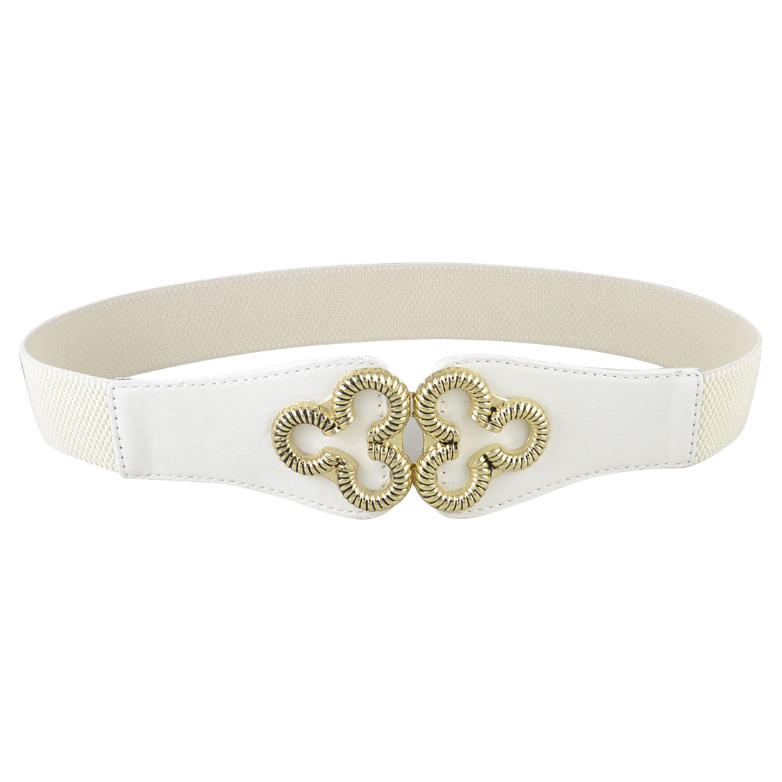 Women Floral Interlocking Buckle Faux Leather Stretchy Cinch Waist Belt White