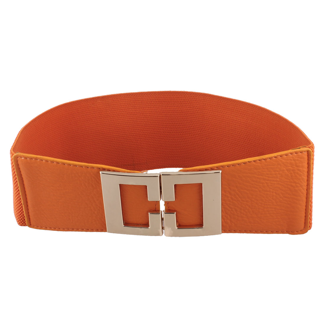 Lady Hook Buckle 8cm Width Stretchy Orange Waist Belt Waistband Skirt Corset Band