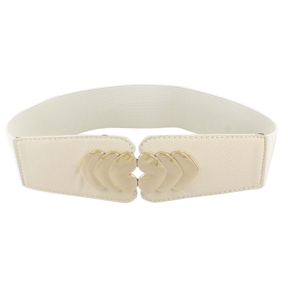 Heart Accent Hook Buckle Stretchy Beige Waist Belt Waistband Corset Band for Lady