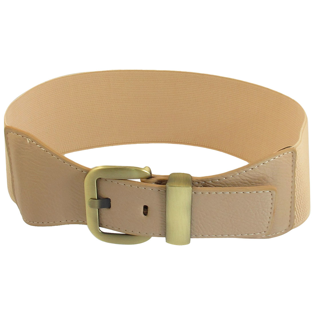 Women Metal Single Pin Buckle Faux Leather Wide Elastic Belt Band Khaki