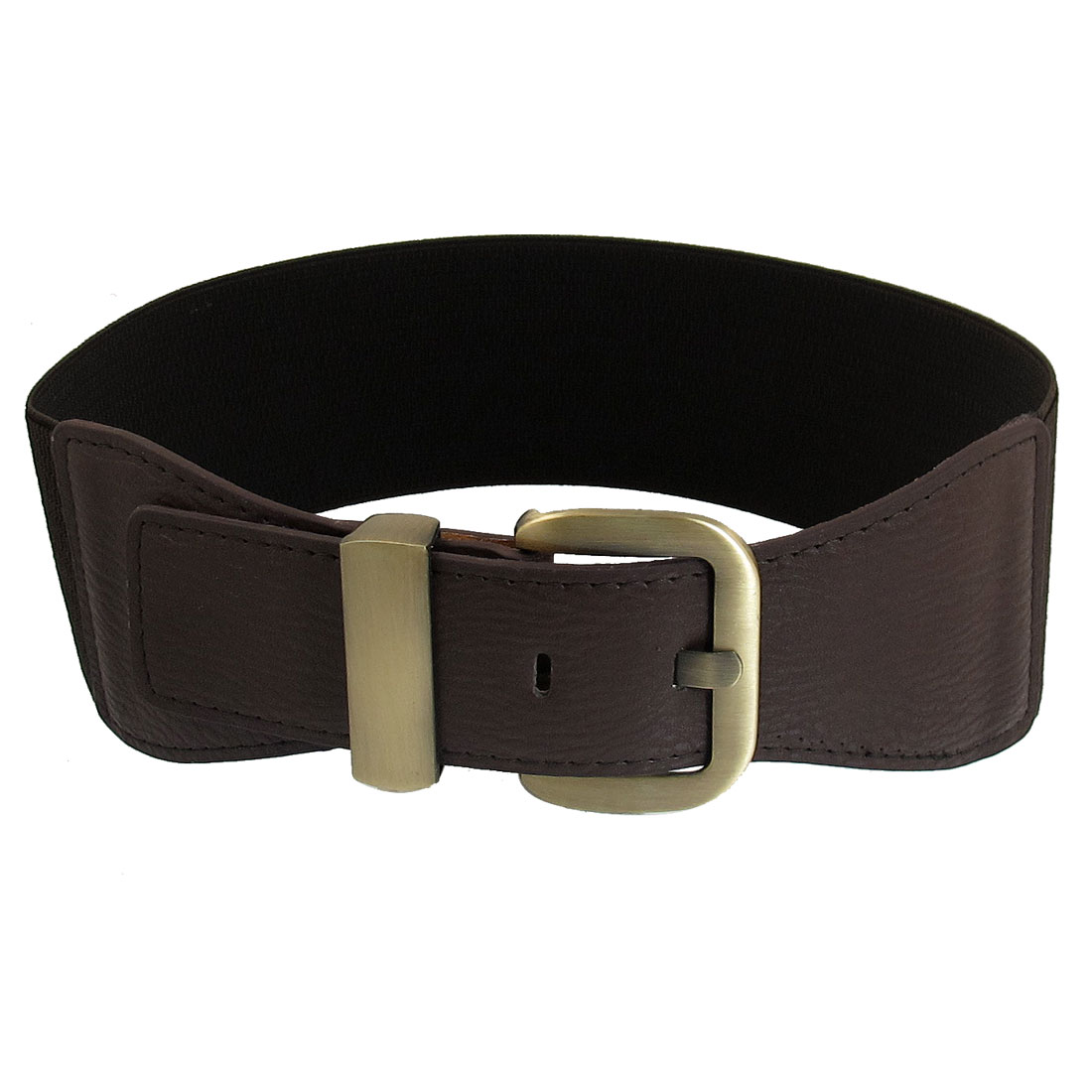 Lady Women Metal Single Prong Buckle Chocolate Color Stretchy Cinch Belt