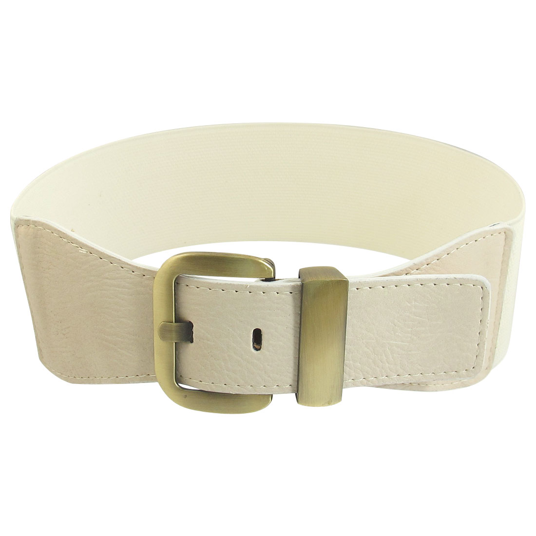 Metal Single Pin Buckle Adjustable Faux Leather Wide Elastic Belt Band White