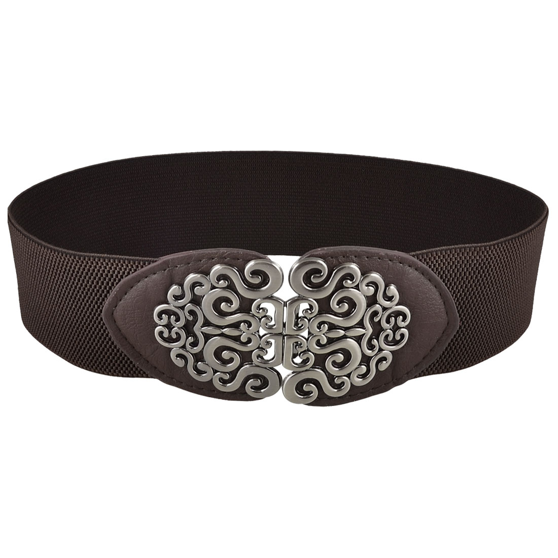 Woman Auspicious Clouds Interlocking Closure Stretch Cinch Waist Belt Dark Brown