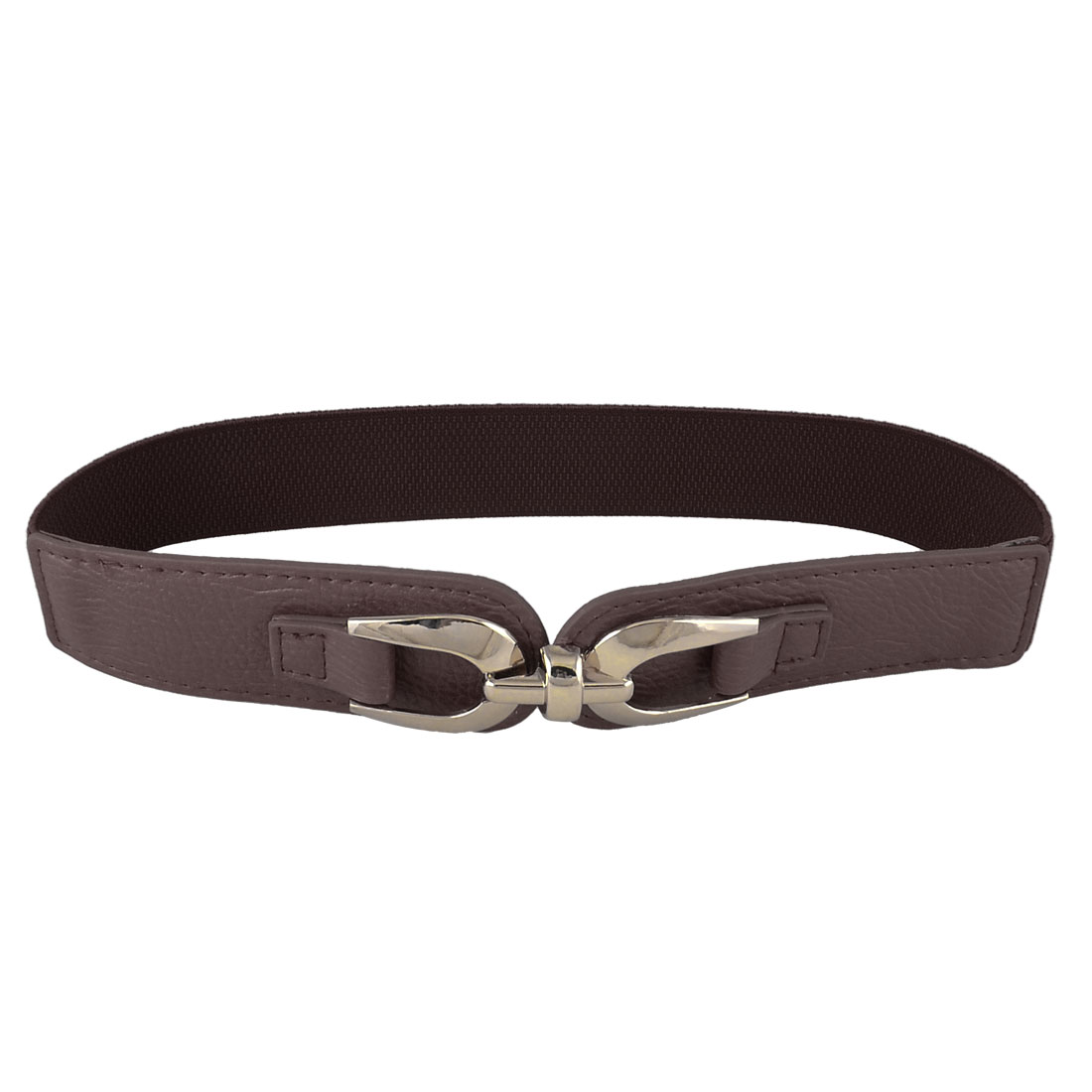 "Interlocking Buckle Elastic High Waistband Waist Belt 1.5"" Wide Dark Brown for Lady"