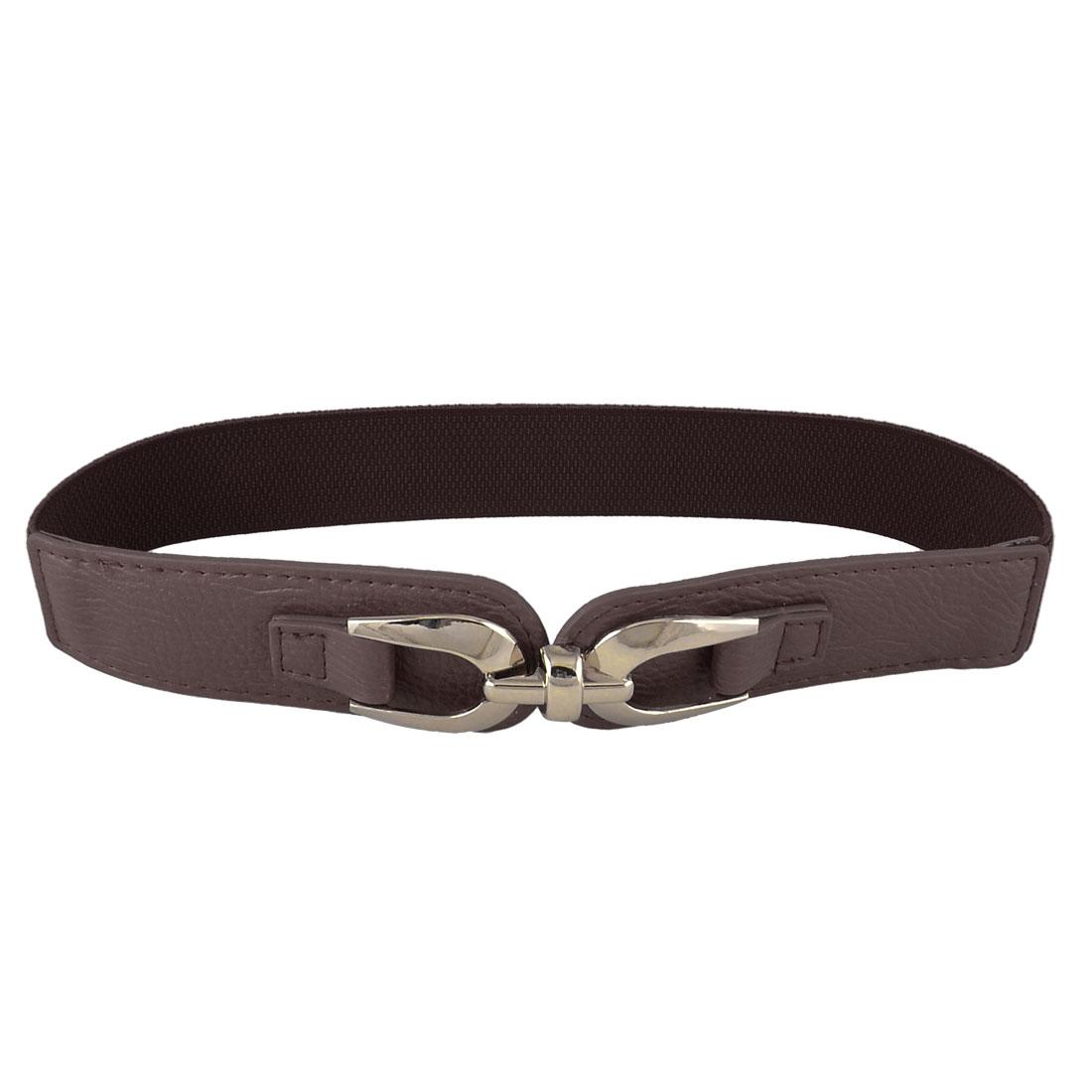 """Interlocking Buckle Elastic High Waistband Waist Belt 1.5"""" Wide Dark Brown for Lady"""