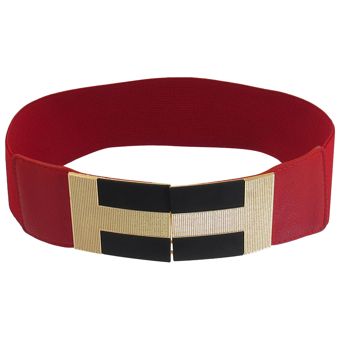 Woman Metal Gold Tone Black Buckle Stretchy Width Waist Belt Band Red