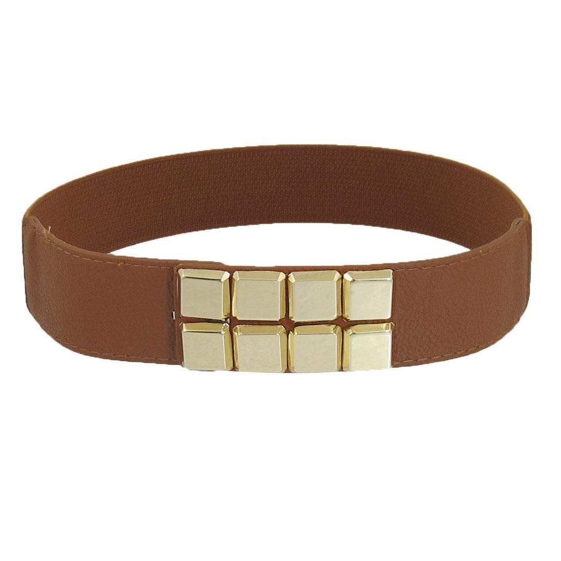 Ladies Metal Cube Decor Hook Buckle Elastic Waist Belt Waistband Corset Band Brown