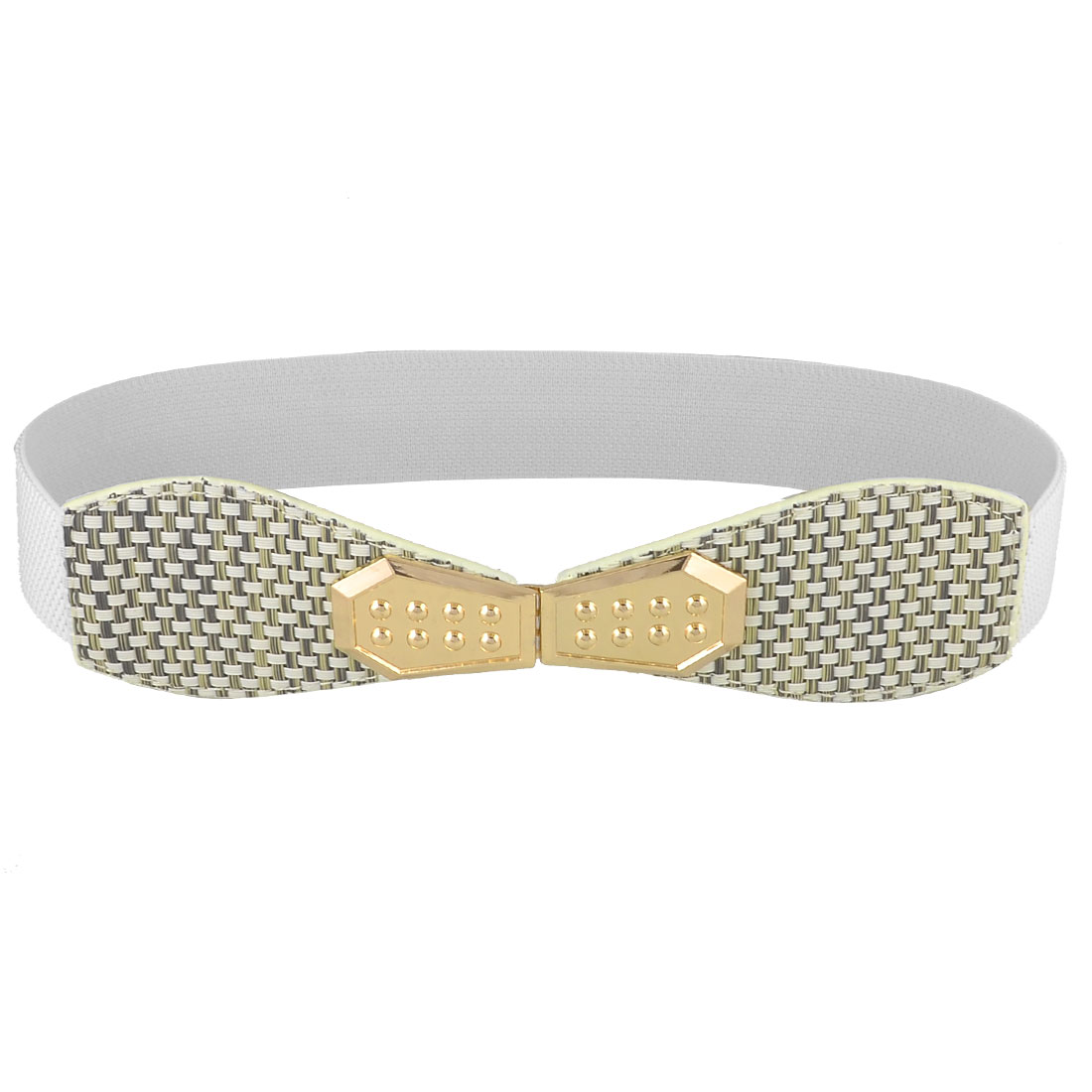 Hook Style Buckle Weave Accent Elastic Women Waist Belt Waistband White
