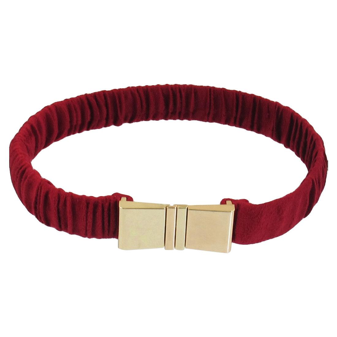 Ladies Amaranth Gold Tone Interlocking Buckle Elastic Cinch Belt Band
