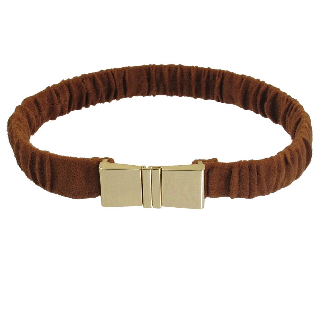 Ladies Brown Fleece Coated Gold Tone Metal Buckle Elastic Cinch Belt