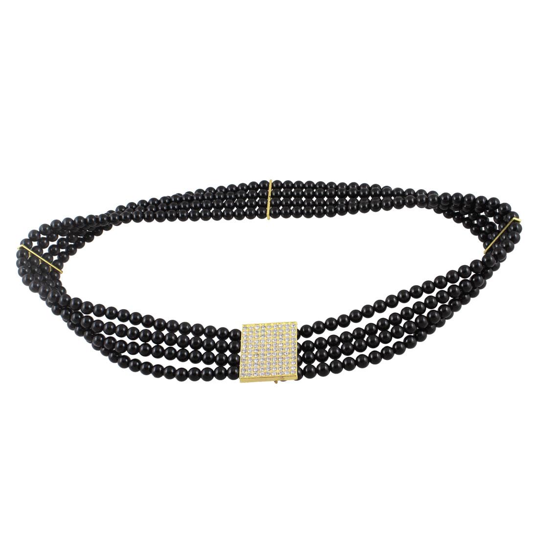 Woman Interlocking Buckle Rhinestone Beads Detail Black Waist Hip Belt Waistband Cinch
