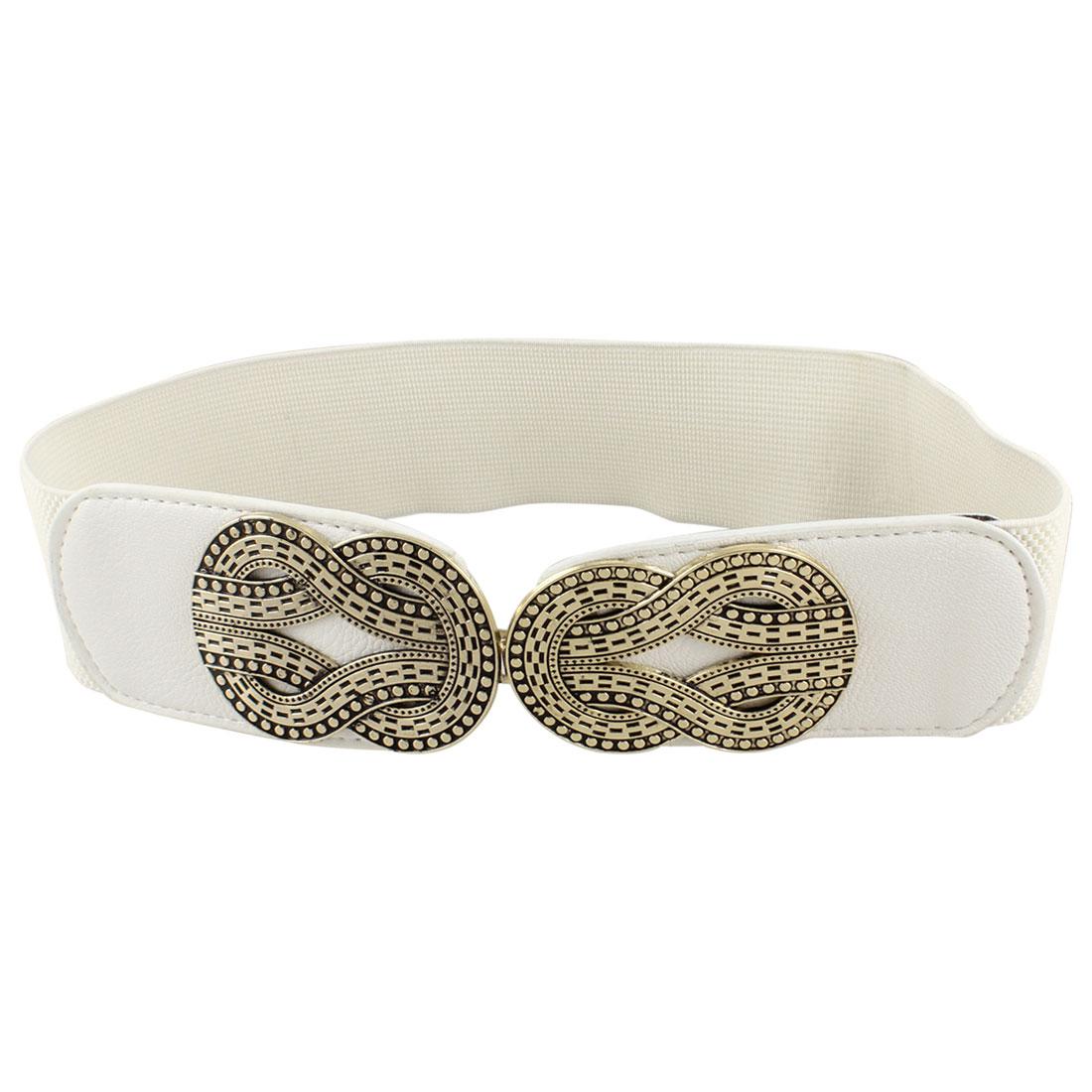 Woman Sign 8 Accent Hook Buckle Waist Belt Waistband Corset Band Cinch White