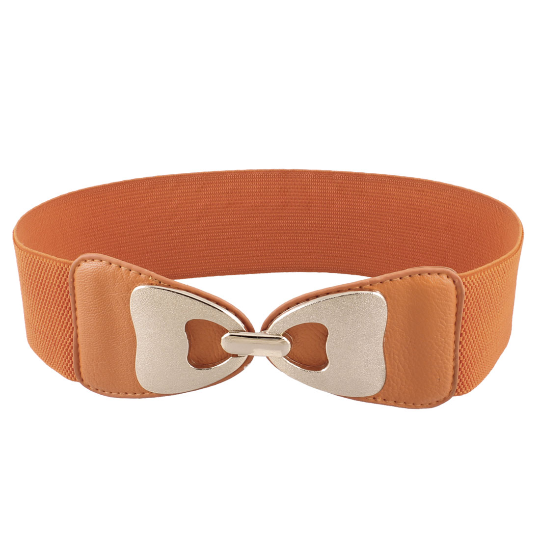 Elastic Band Interlocking Buckle 6cm Width Waist Belt Orange for Ladies