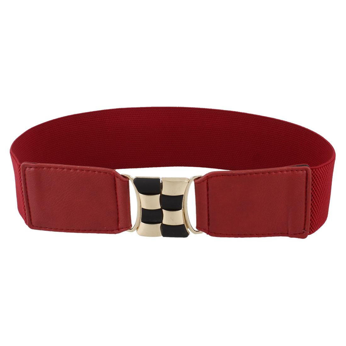 Elastic Band Gold Tone Black Checks Decor 6cm Width Waist Belt Red for Lady
