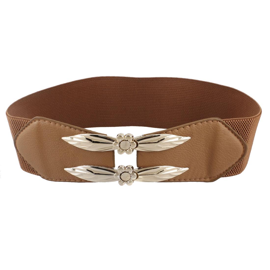 Elastic Band Flower Shape Interlocking Buckle Waist Belt Brown for Ladies