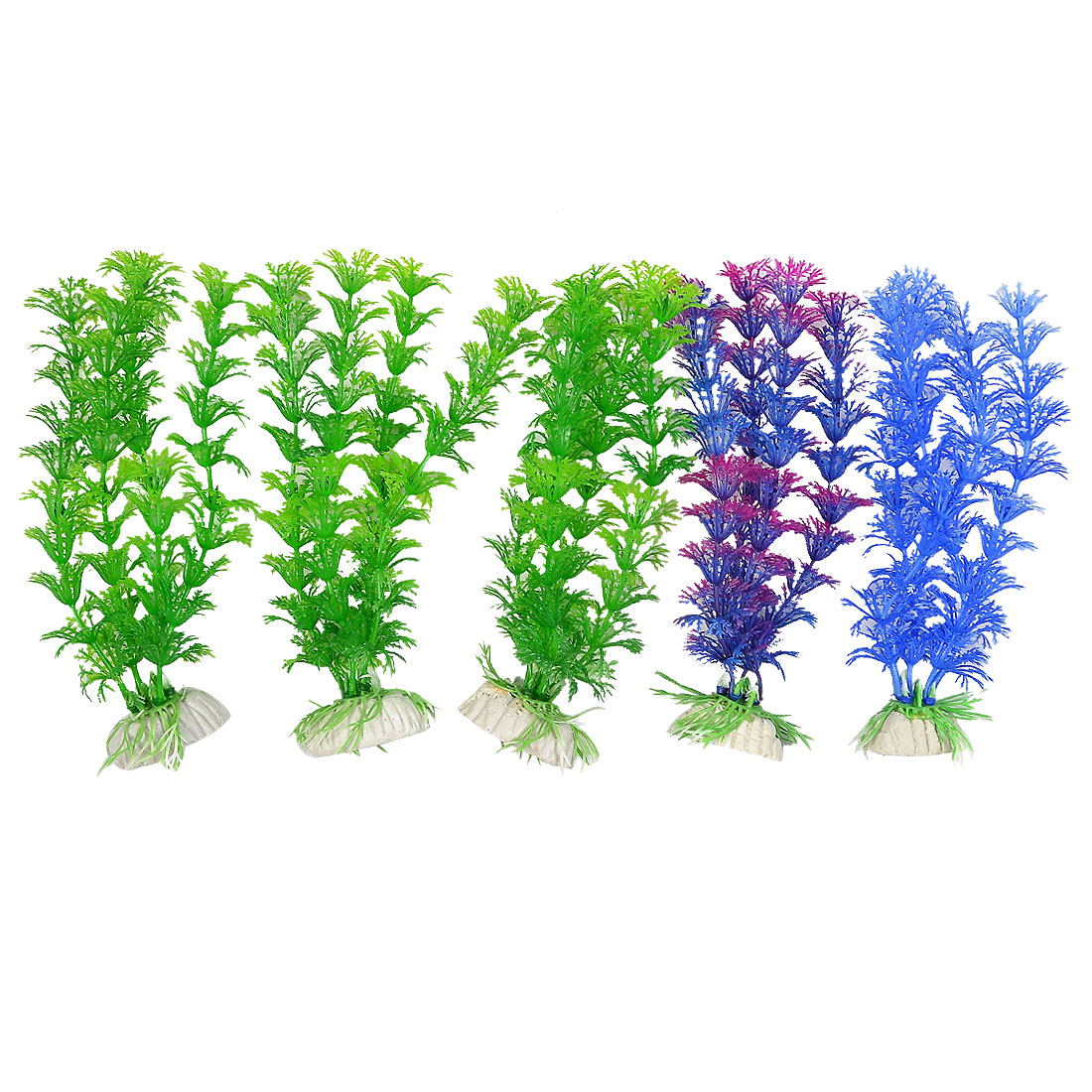 "5 Pcs 6.3"" Height Aquarium Aquascaping Simulation Plant Decor Green Purple Blue"
