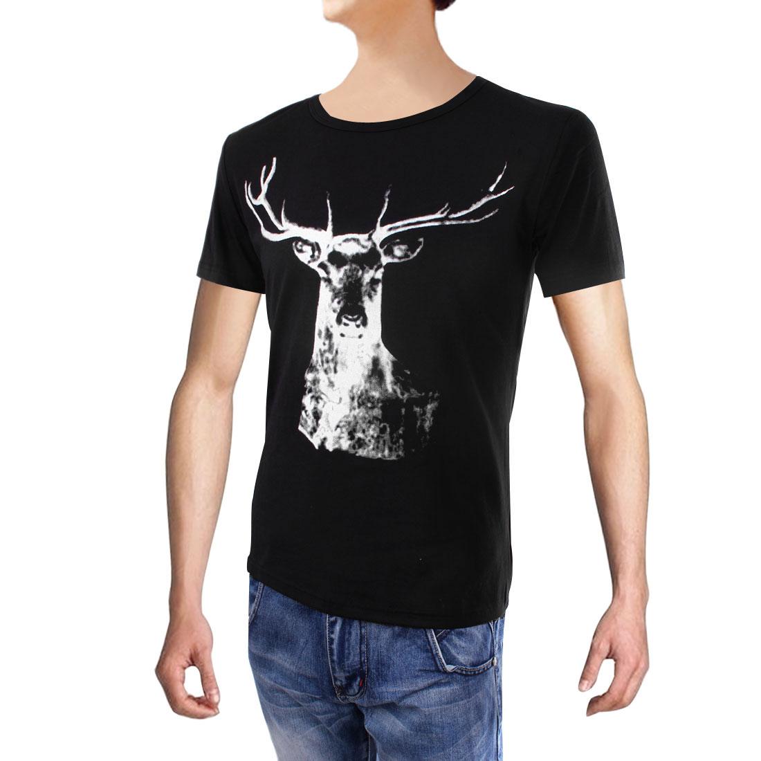Mens Stylish Short Sleeve Caribou Pattern Design Black M T-shirt