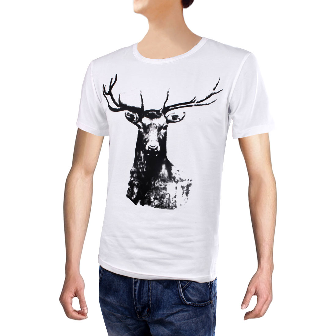 Mens New Fashion Round Neck Short Sleeve Printed Spring White T-shirt M