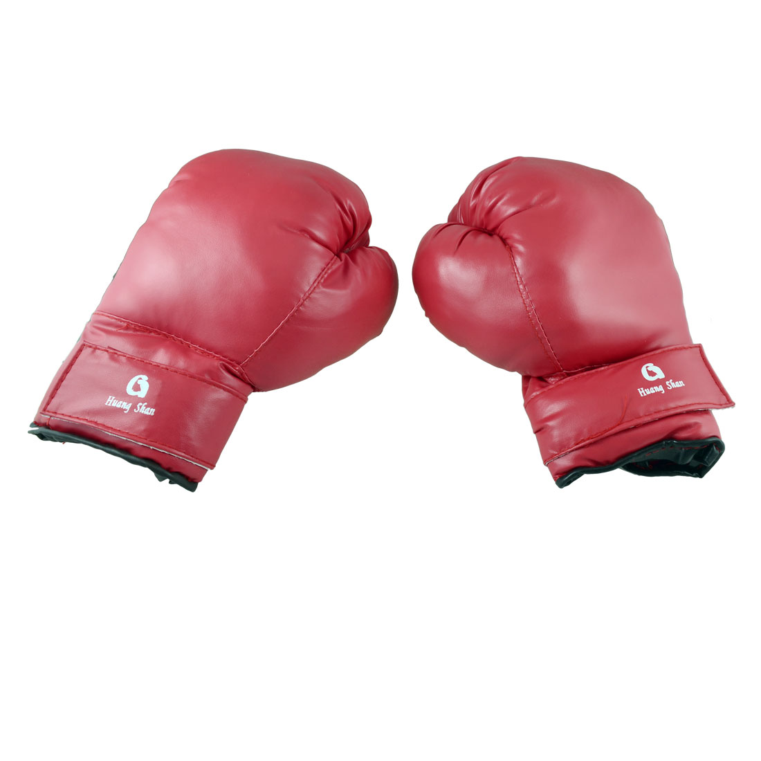 Adult Pair Hook Loop Fastener Faux Leather Boxing Gloves Red Black