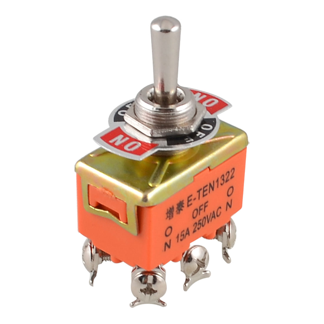 AC 250V 15A Latching 3 Way On-Off-On Single Pole Double Throw Toggle Switch