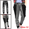 Men Pockets Stretchy Dark Gray W32 Adjustable Drawstring Casual Pants