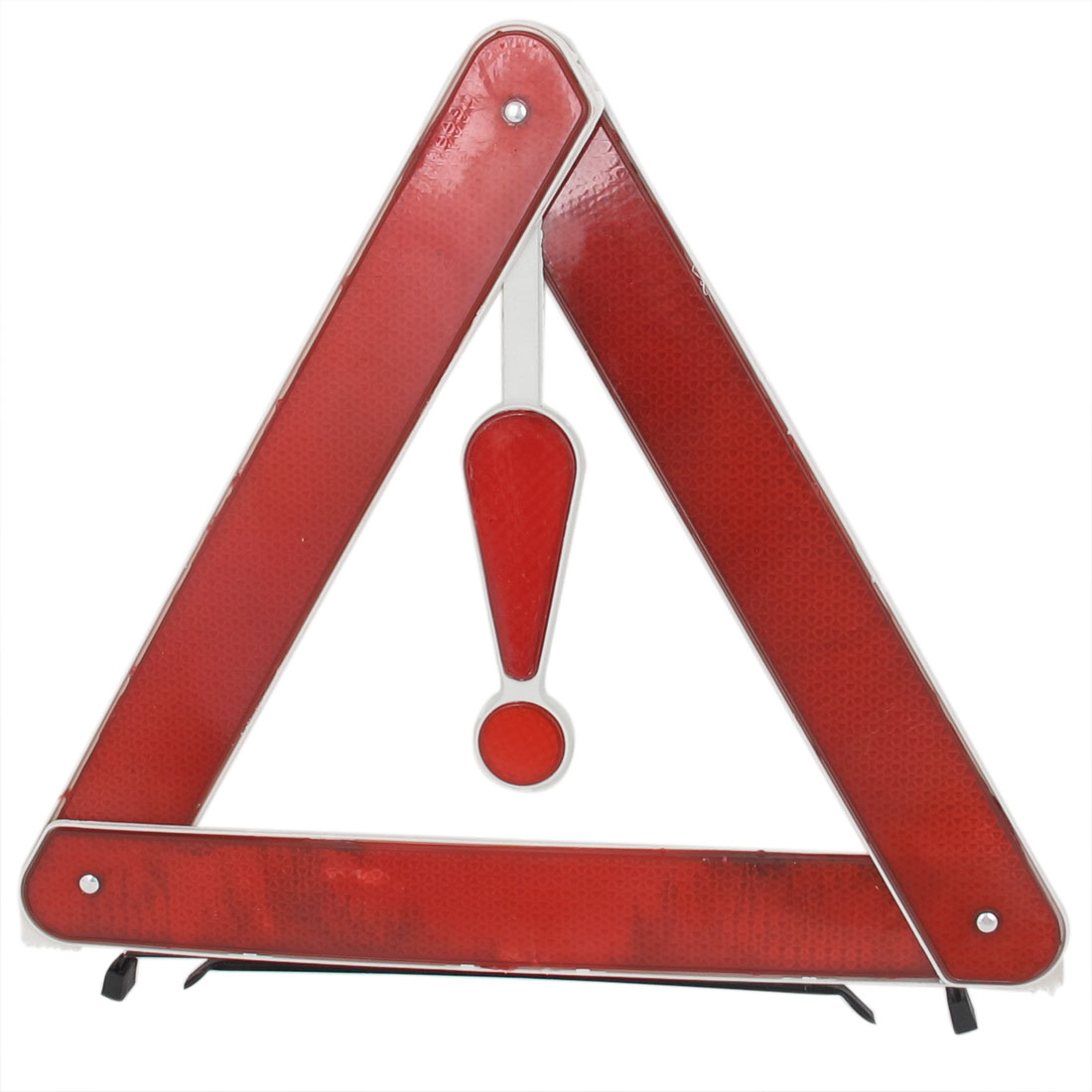 Roadway Emergency Retractable Sign Warning Triangle Stand w Yellow Box Red White