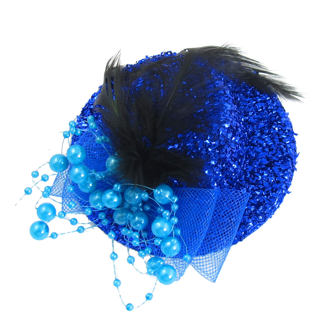 Girls Royal Blue Plastic Beads Bowknot Faux Feather Decor Mini Top Hat Hairclip