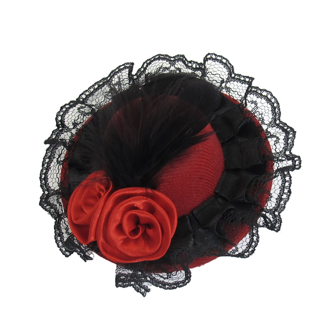 Red Dual Flowers Black Faux Feather Decoration Mini Top Hat Hair Clip for Lady