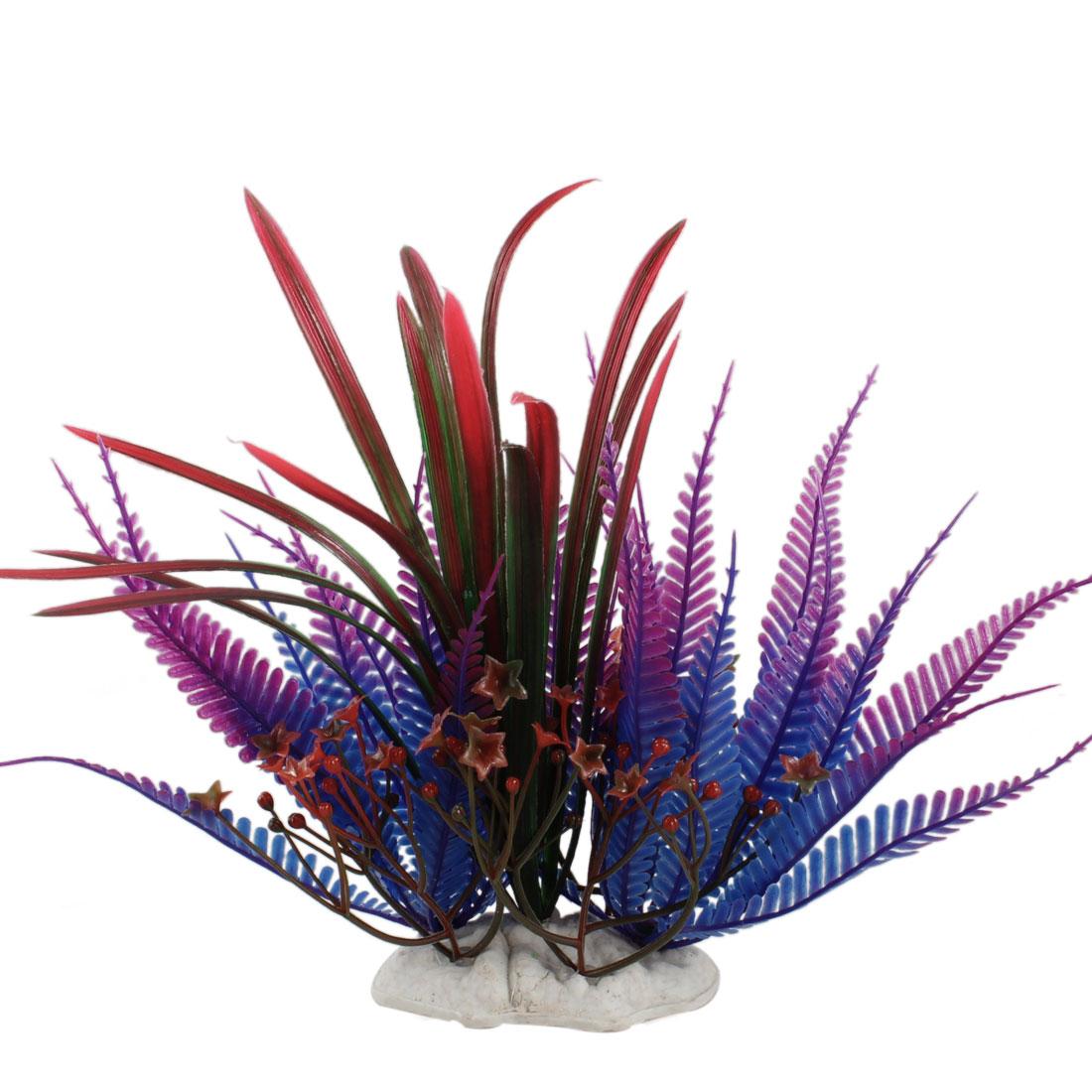 "Fish Tank Plastic Purple Blue Grass Plant Decor 8.9"" Height"