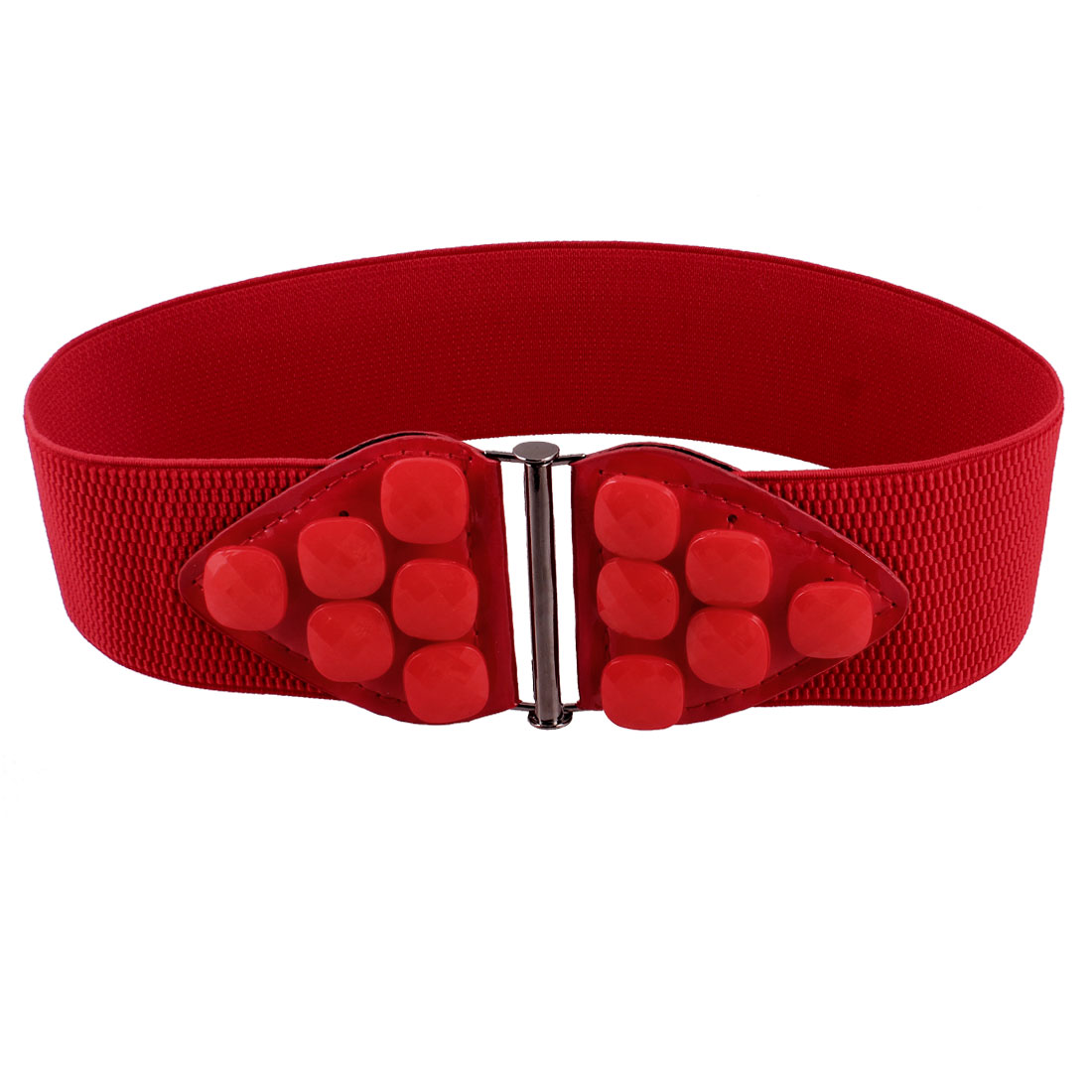 Women Interlocking Buckle Beads Accent Elastic Waist Belt Waistband Corset Band Red