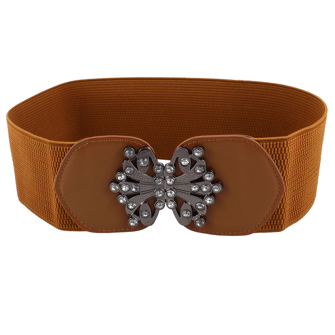 Lady Interlocking Metal Buckle Crystal Butterfly Detail Stretchy Brown Waist Belt Waistband Corset Band