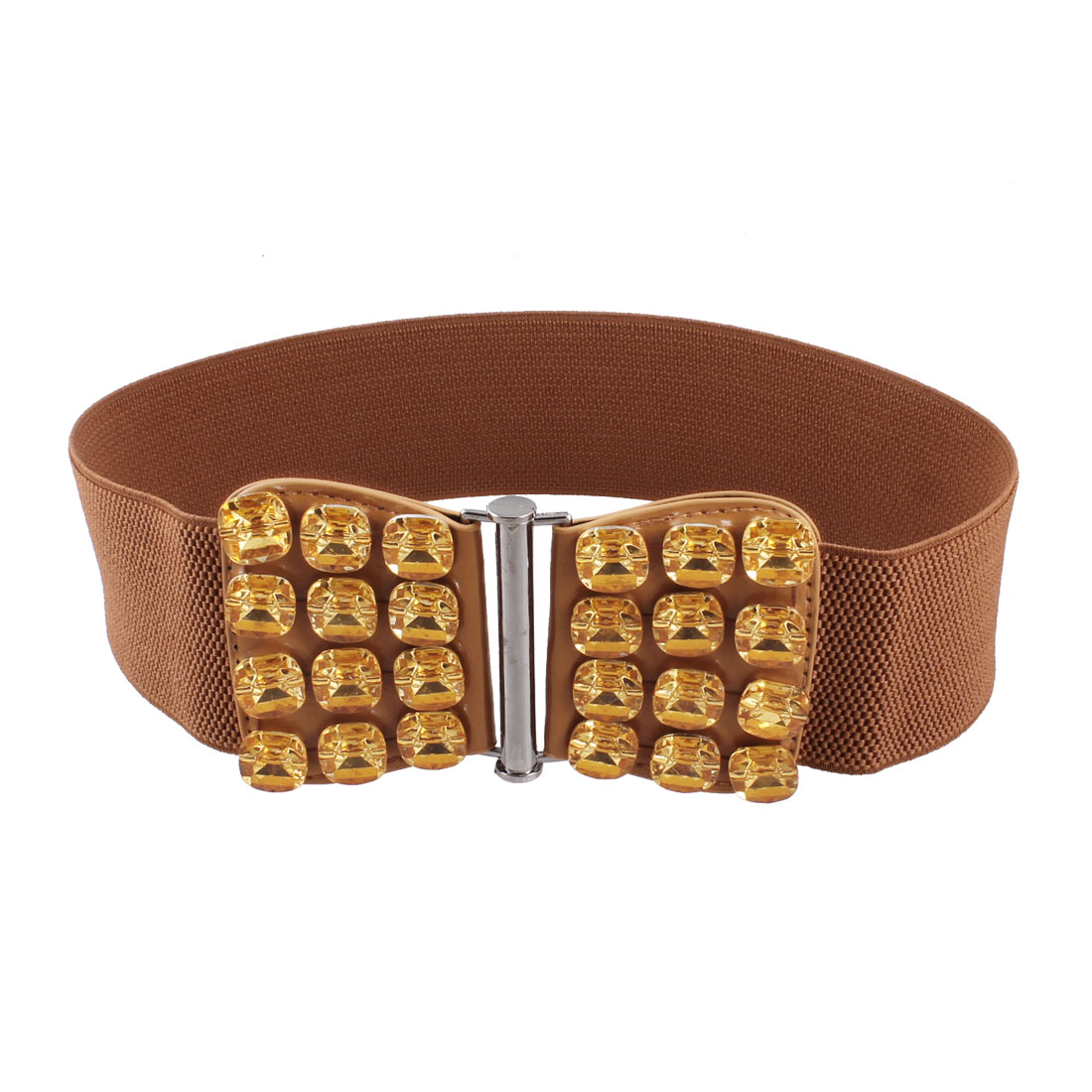 Interlocking Buckle Crystal Detail Stretchy Waist Belt Waistband Brown for Woman