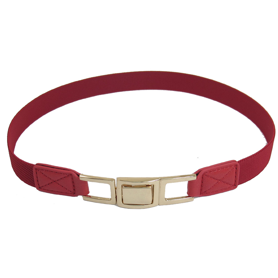 Rectangle Interlocking Buckle Textured Elastic Cinch Belt Red for Woman