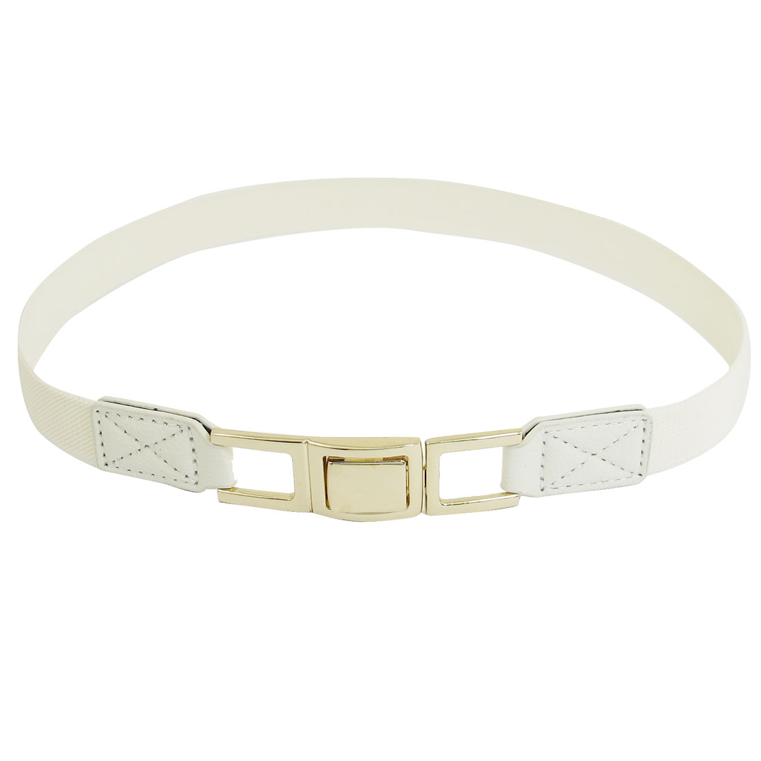 Women Rectangle Shape Metal Interlocking Buckle Elastic Waist Belt White