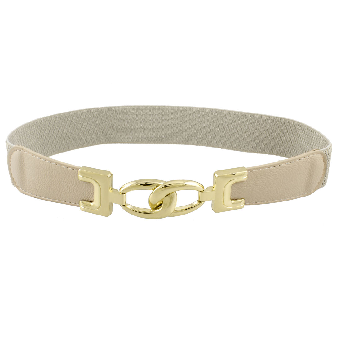 Ladies Elastic Band Gold Tone Interlocking Buckle Waistbelt Cinch Belt Khaki