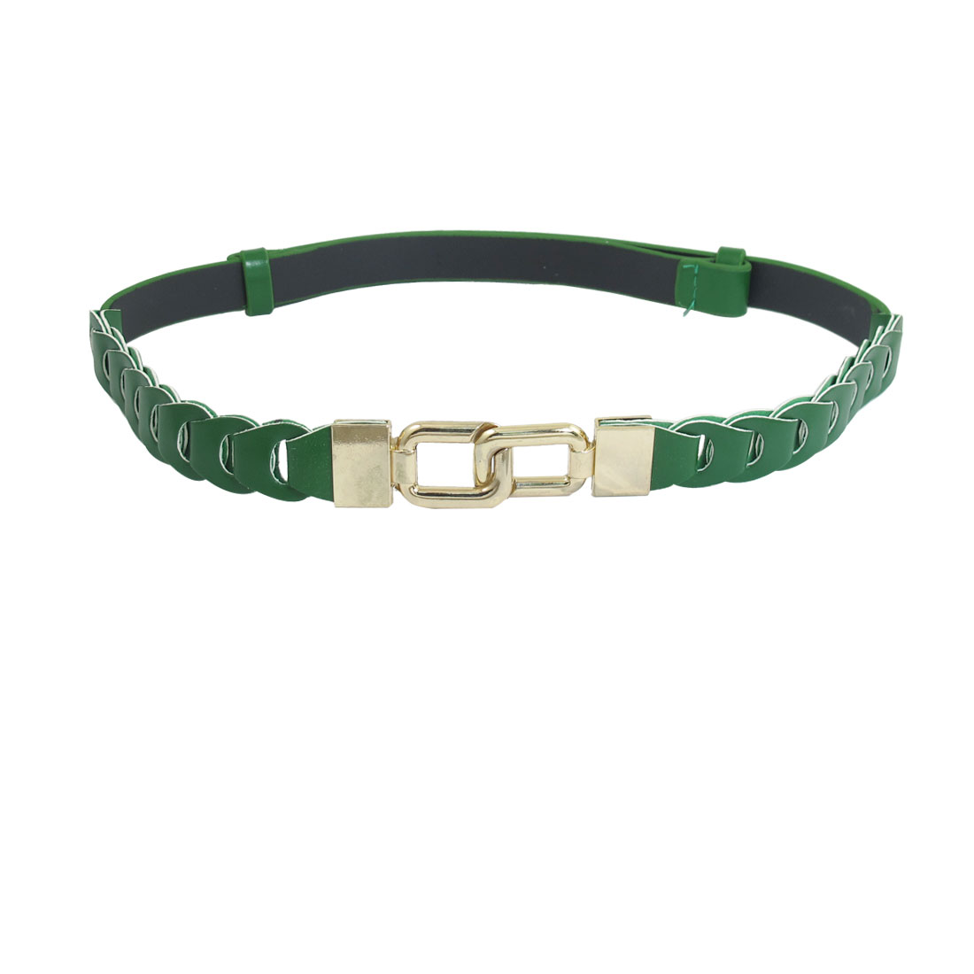 Metal Interlock Buckle Faux Leather Adjustable Slim Cinch Belt Green for Woman