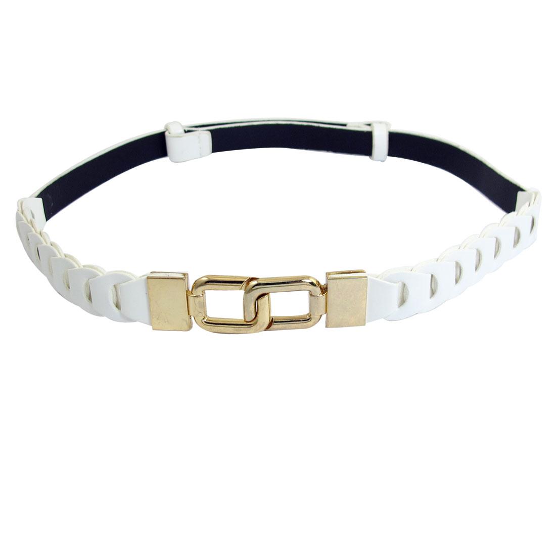 Ladies Eight Design Interlocking Buckle White Faux Leather Adjustable Waist Belt