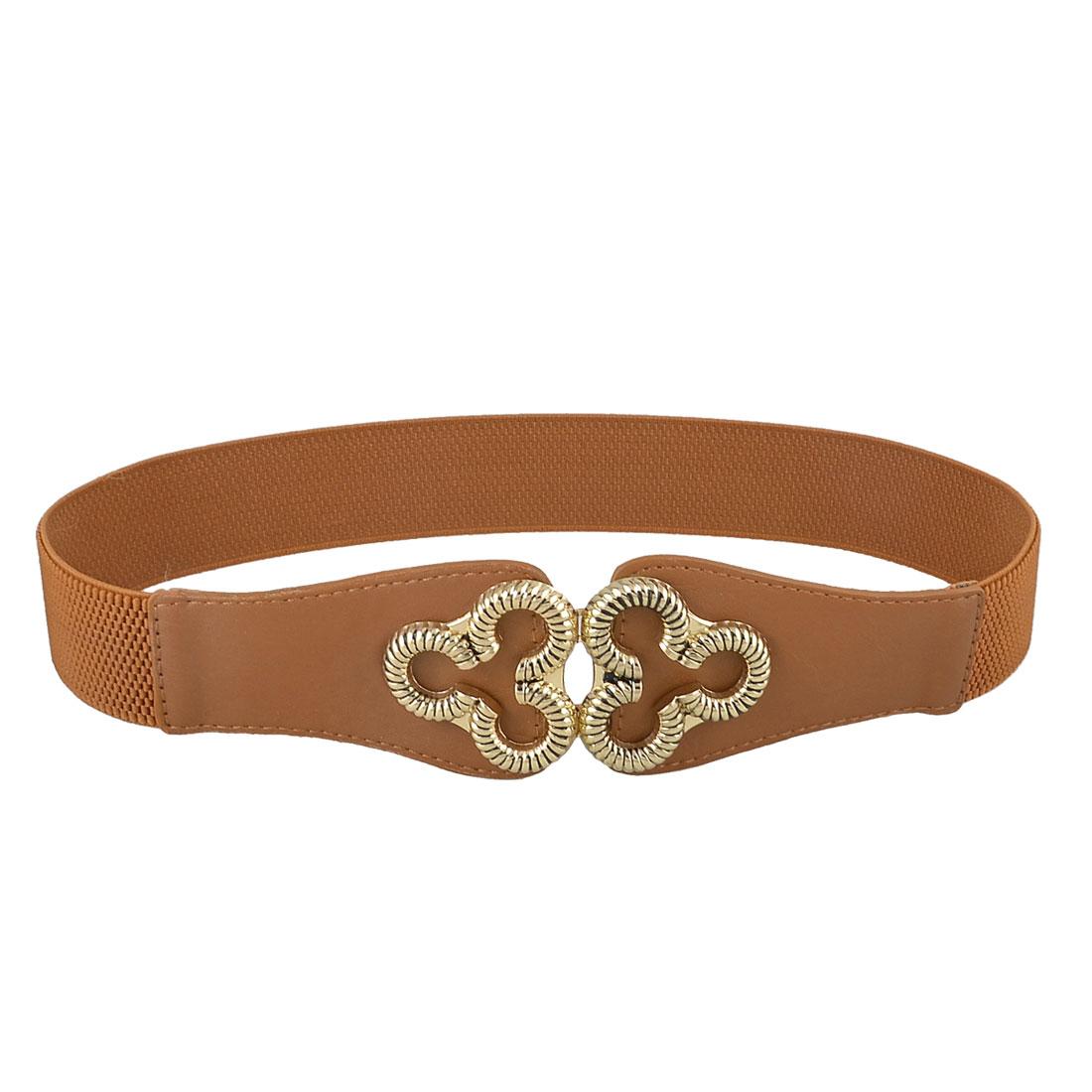 Floral Metal Interlock Buckle 3.5cm Wide Elastic Cinch Blouse Corset Band Belt Brown