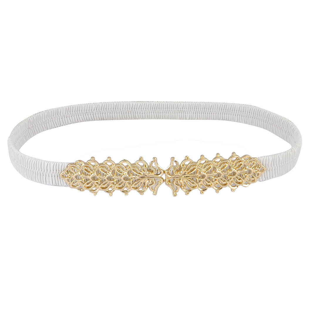 Women Floral Interlocking Closure Pleated Faux Leather Spandex Cinch Waist Belt White