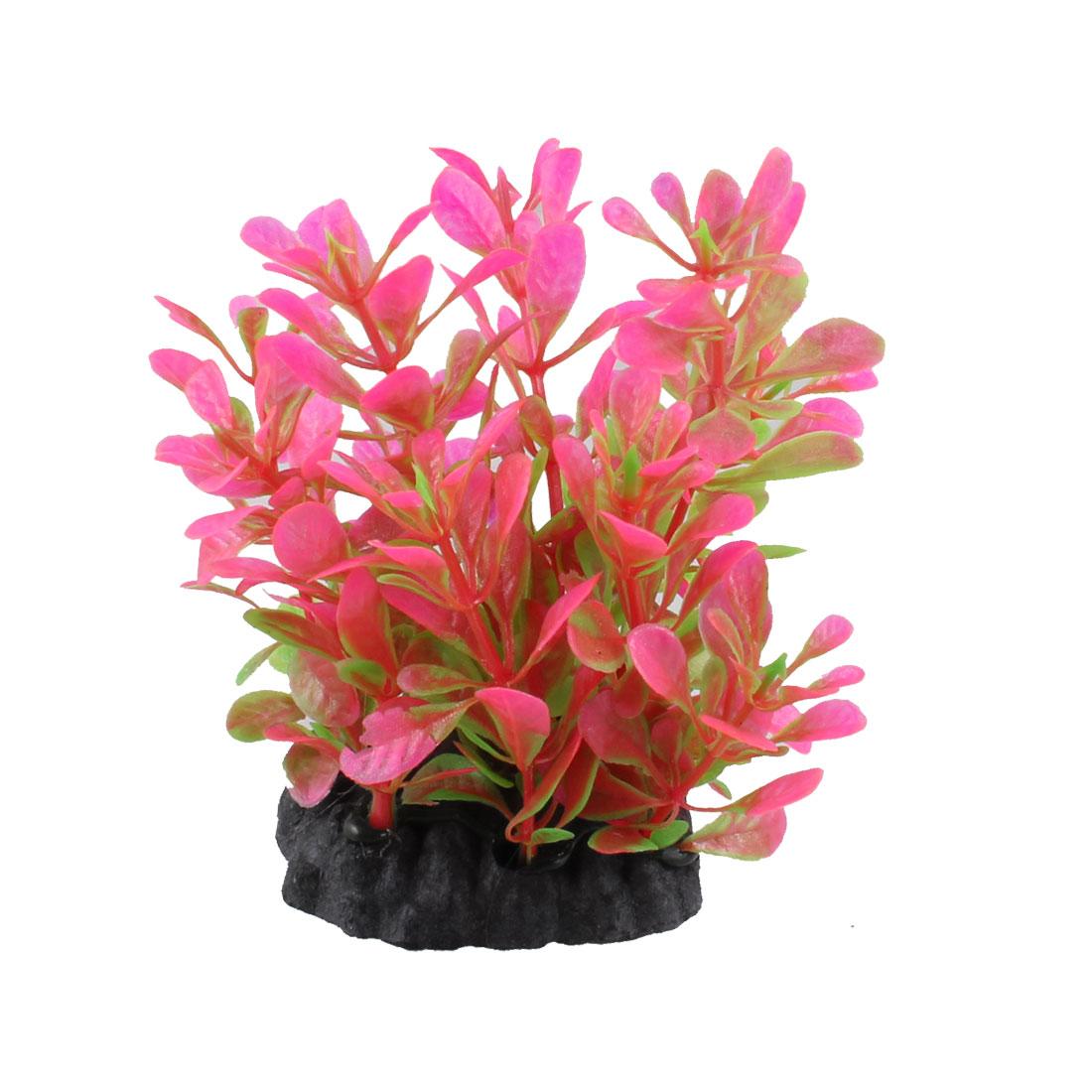 """Aquarium Decoration 3.5"""" Height Pink Leaf Artificial Underwater Plant"""