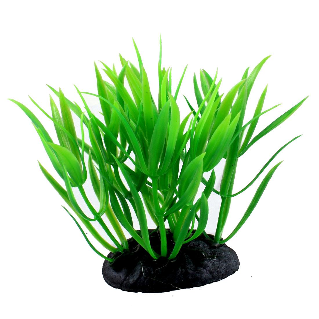 """Aquarium Decoration 3.3"""" Height Green Leaf Plastic Underwater Plant"""