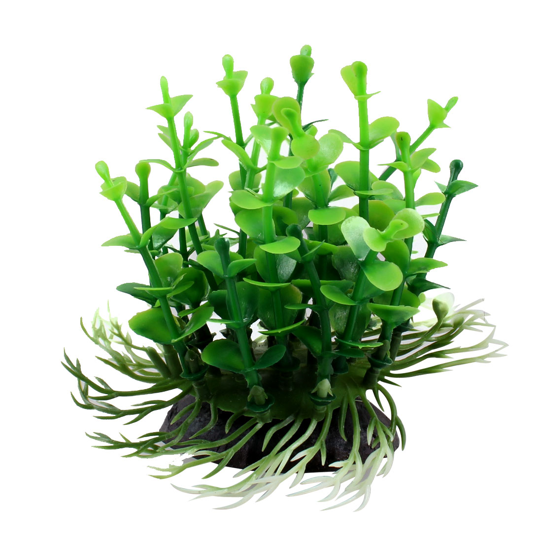 "Aquarium Decoration 3.5"" Height Green Leaf Plastic Underwater Plant"