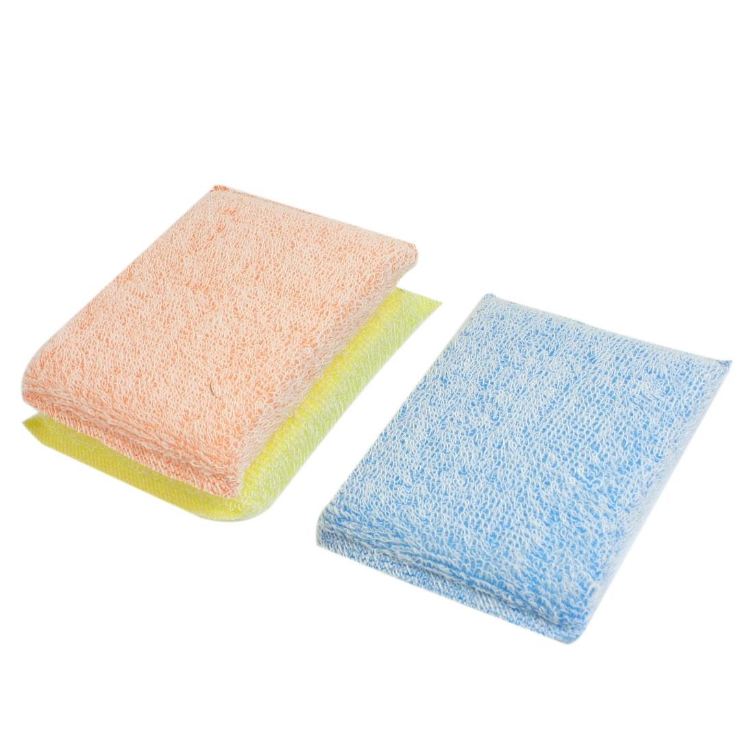 3Pcs Yellow Blue Orange Scrub Sponge Padded Dish Pad Bowl Cup Cleaner