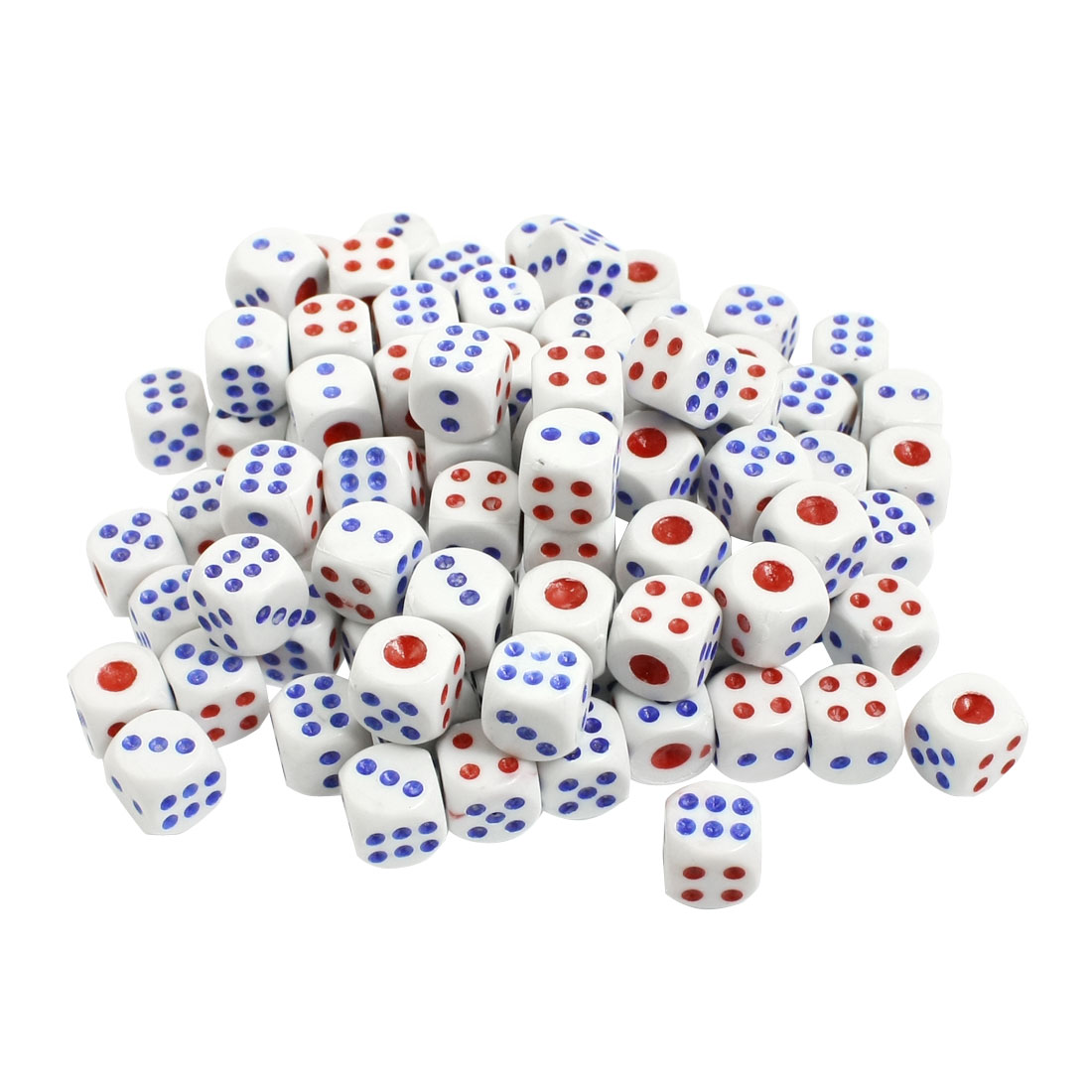 100 Pcs 13mm White Blue Red Plastic Shaking Dices Lucky Game Props New
