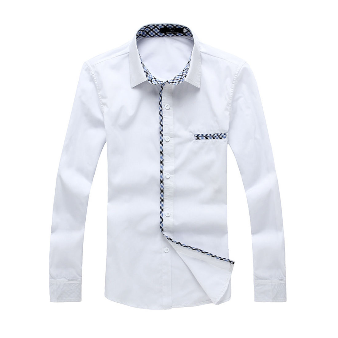 Man Stylish Chest Pockets Decor Buttons Cuff Shirt White S