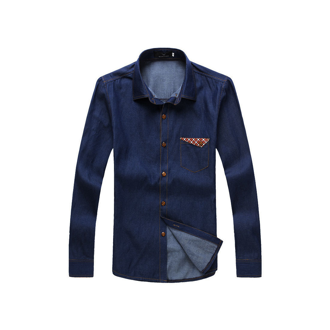 Mens Dark Blue Point Collar Round Hem Fashional Casual Autumn Shirt M