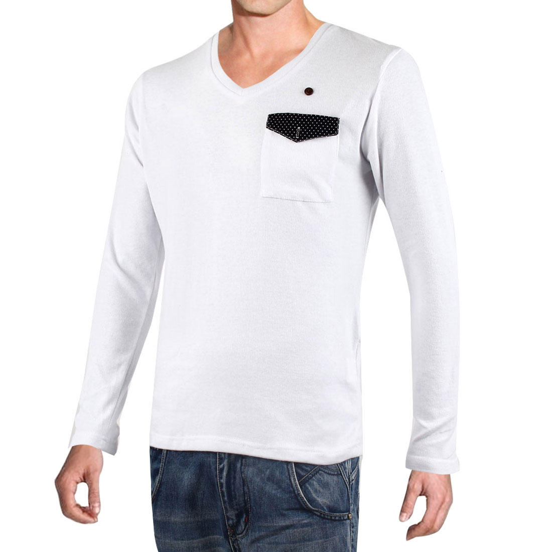 Men White V Neck Long Sleeve Dots Detail Pocket Top Casual Shirt M