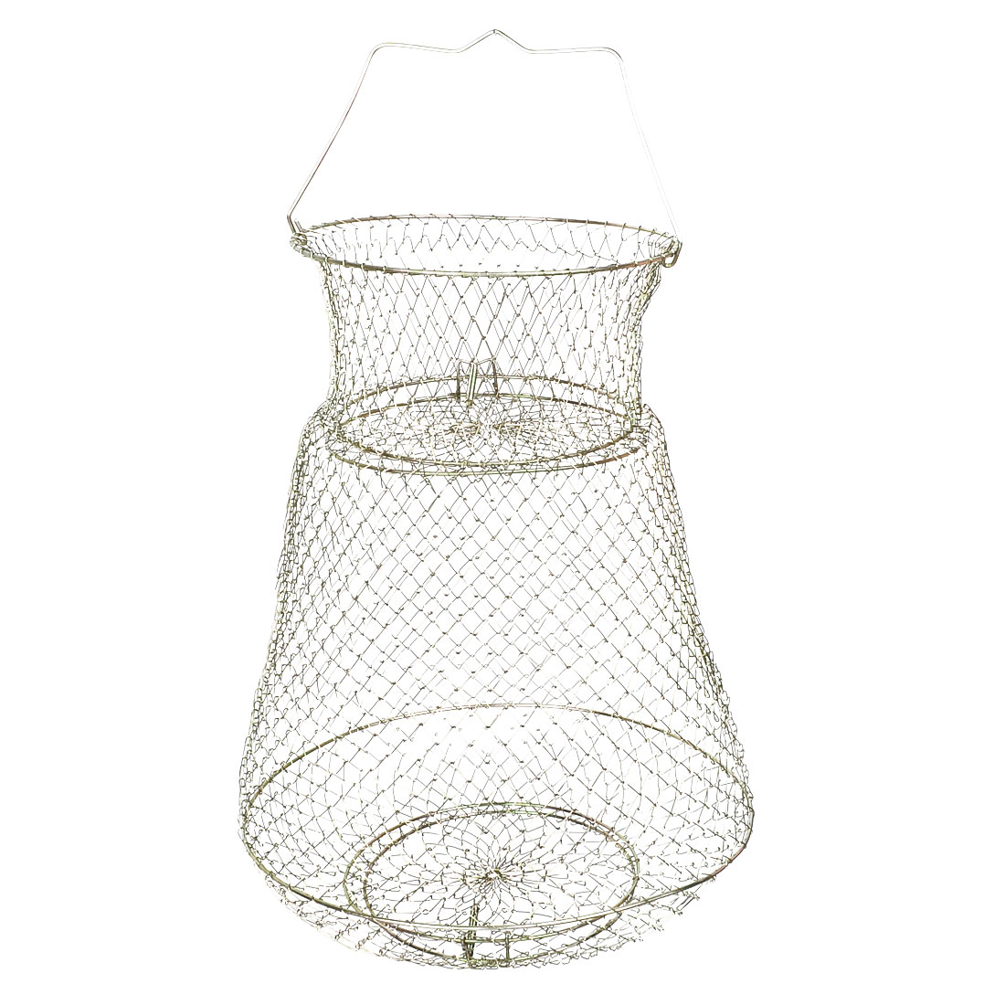 40cm Height Gold Tone Metal Folding Fish Cage Fishing Cage Net for Fishers