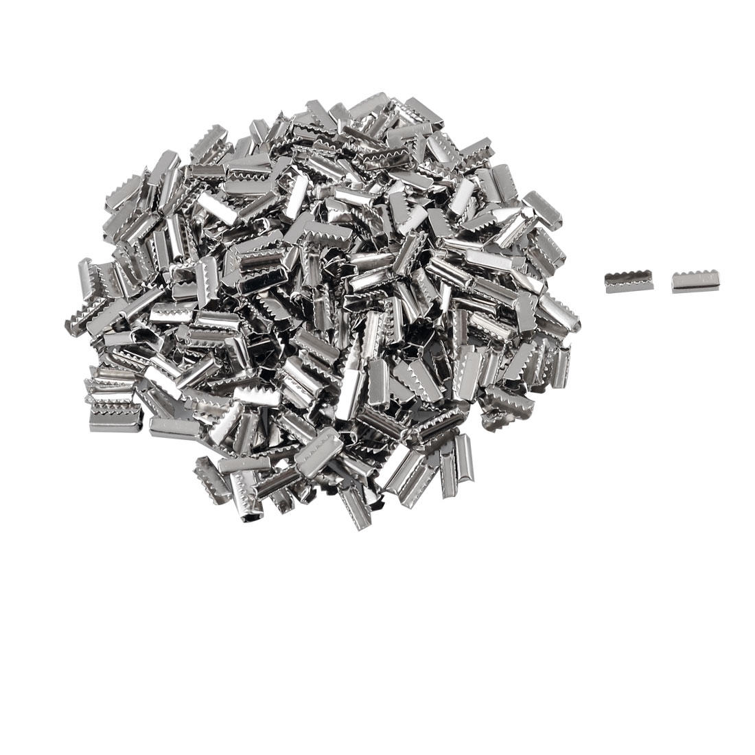 Pack 440 Pcs Silver Tone Metal Toothed Clamp End Finish for Ribbon Cording